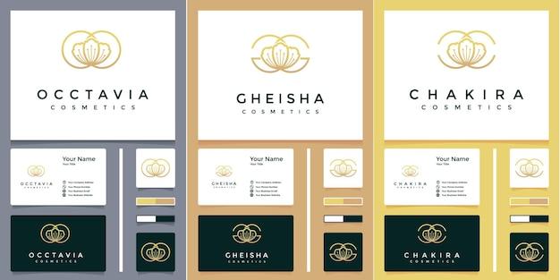 Logo de lettre o, g et c fleur rose luxueuse avec design de carte