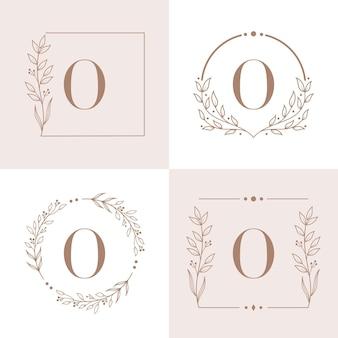 Logo de la lettre o avec modèle de fond de cadre floral