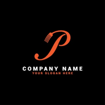 Logo de lettre p food avec symbole de fourchette