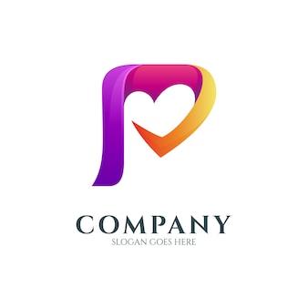 Logo de la lettre p avec forme de coeur ou d'amour