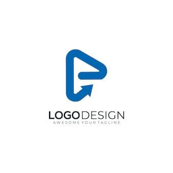 Logo lettre p technologie multimédia avec flèche