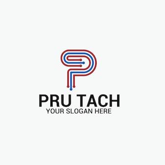 Logo de lettre de p de technologie