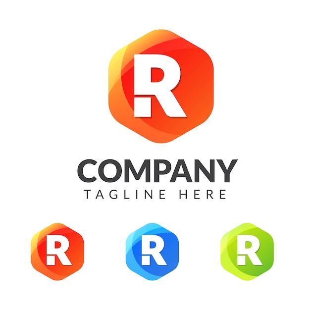 Logo de la lettre r avec forme de géométrie colorée