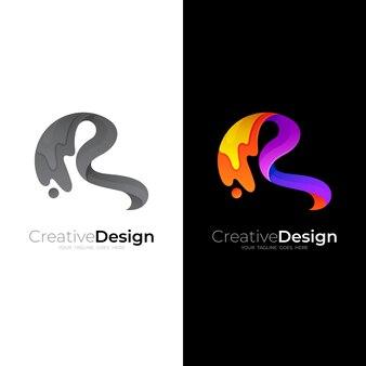 Logo de la lettre r et icône de peinture, logos colorés