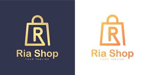 Logo de lettre r minimaliste avec concept «shopping» et «boutique en ligne»