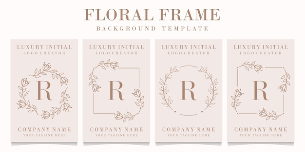 Logo de la lettre r avec modèle de cadre floral