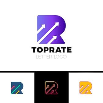 Logo de la lettre r avec trois logo de flèche d'espace négatif pour le transport, la compagnie de livraison etc.