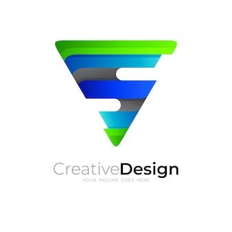 Logo de la lettre s et combinaison de conception de triangle, 3d coloré