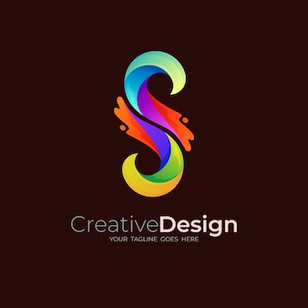 Logo de la lettre s avec icônes colorées, logo s et swoosh