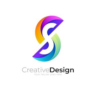 Logo De La Lettre S Avec Modèle De Conception Colorée, Logo Avec Simple S Vecteur Premium
