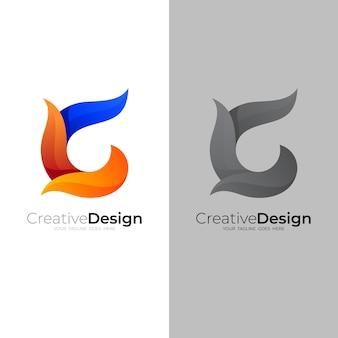 Logo de la lettre c simple et 3d coloré, modèle d'icône