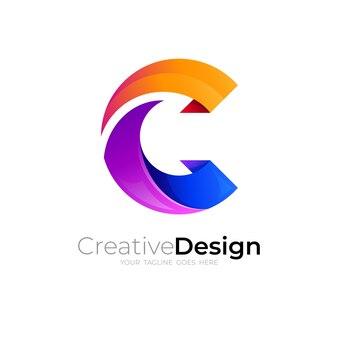 Logo de la lettre c simple et style coloré