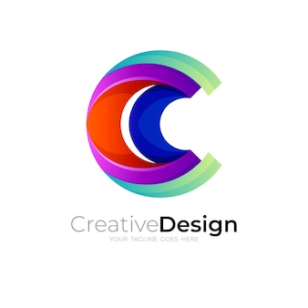 Logo de la lettre c et style coloré, logos 3d