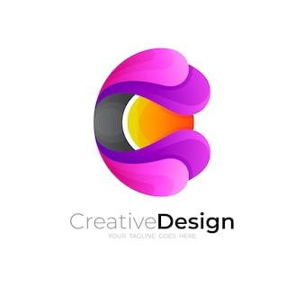 Logo de la lettre c de symbole et design coloré 3d