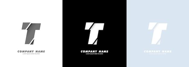 Logo de la lettre t de l'alphabet art abstrait. conception cassée.