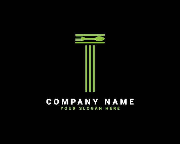 Logo de lettre t, logo de lettre de nourriture t, logo de lettre de cuillère t