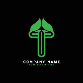 Logo de lettre t naturel, logo de lettre t avec feuilles, éco, botanique