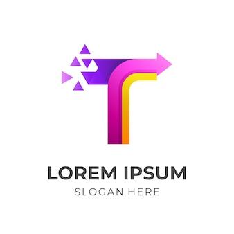 Logo de la lettre t avec vecteur de conception de technologie pixel