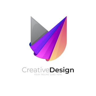 Logo de la lettre u avec un design coloré, modèle de logo 3d