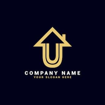 Logo de lettre u immobilier, logo d'appartement u, logo de maison u