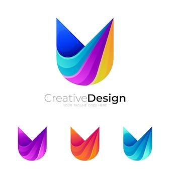 Logo de la lettre u avec modèle de conception coloré