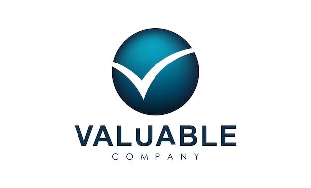 Logo avec la lettre v sur le cercle. vérifier le logotype