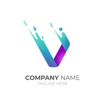 Logo de la lettre v avec forme de mouvement rapide