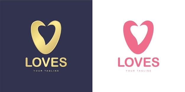 Logo de la lettre v avec l'icône de l'amour