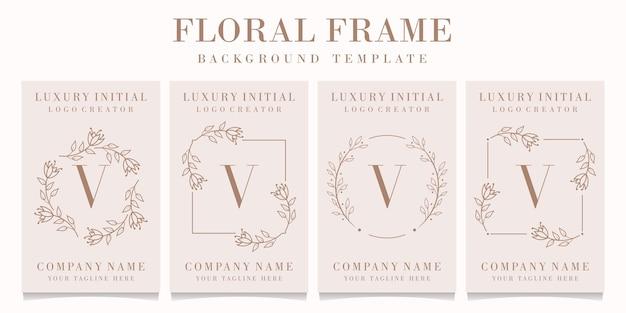 Logo de la lettre v avec modèle de cadre floral