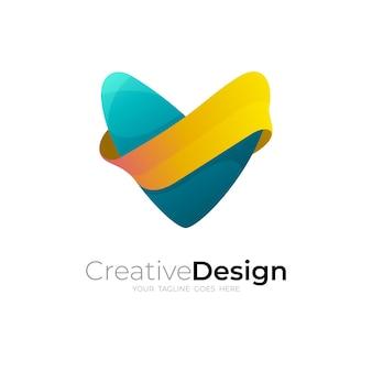 Logo de la lettre v avec modèle de conception moderne, 3d coloré
