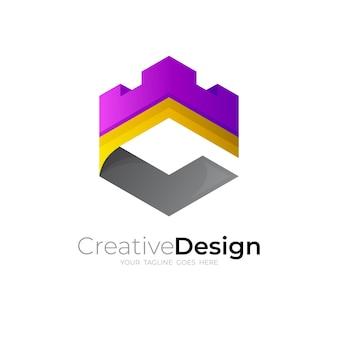 Logo de la lettre c avec vecteur de conception de château, logos hexagonaux