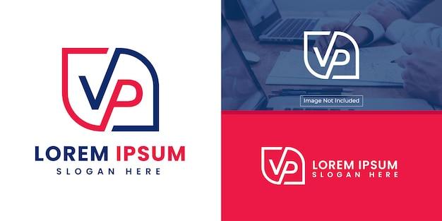 Logo de lettre vp dans un style minimaliste simple