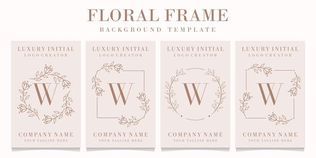 Logo de la lettre w avec modèle de cadre floral