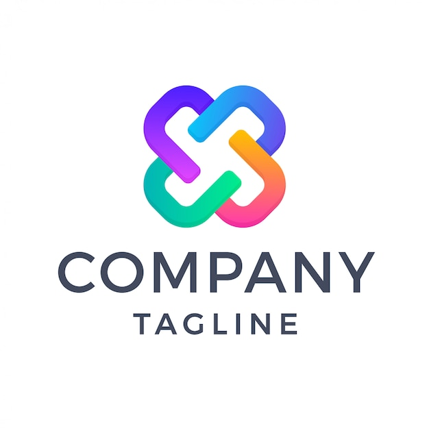 Logo de lettre x abstrait géométrique dégradé multicolore