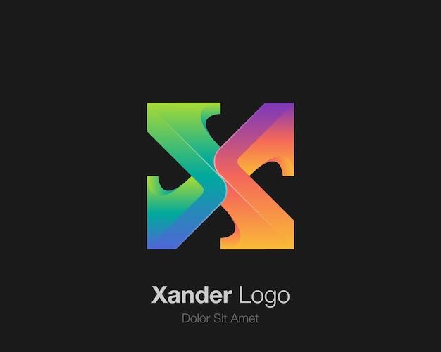 Logo de lettre x coloré