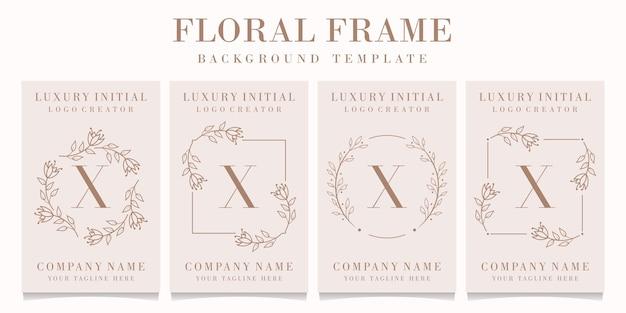 Logo De La Lettre X Avec Modèle De Cadre Floral Vecteur Premium