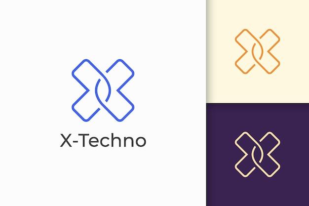 Logo de la lettre x moderne pour une entreprise technologique