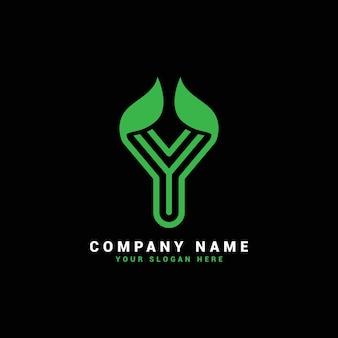 Logo de lettre y naturel, logo de lettre y avec feuilles, éco, botanique
