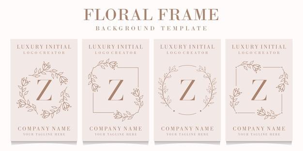 Logo de la lettre z avec modèle de cadre floral