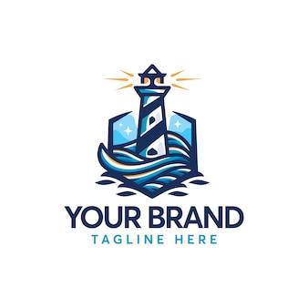 Logo de light house sea beach