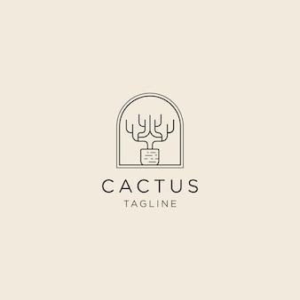 Logo de ligne de cactus avec modèle de logo de style pot