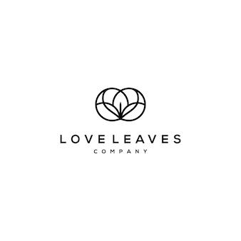 Logo de ligne de cercle avec logo amour et feuille