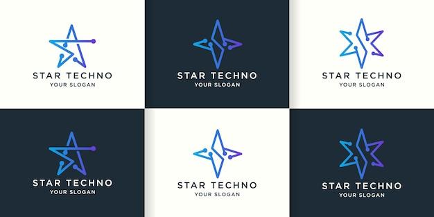 Logo de ligne d'étoile de technologie avec le concept de circuit de point, logo abstrait de lettre s
