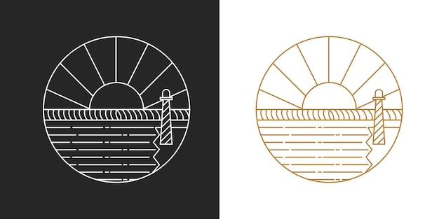 Logo de ligne de lever de soleil moderne