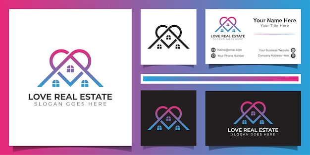 Logo de ligne de logo immobilier d'amour, logo de propriété de bâtiment préféré et conception de carte de visite