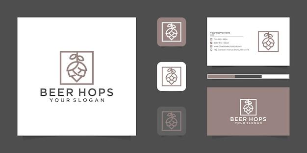 Logo de ligne de luxe de houblon de bière et carte de visite