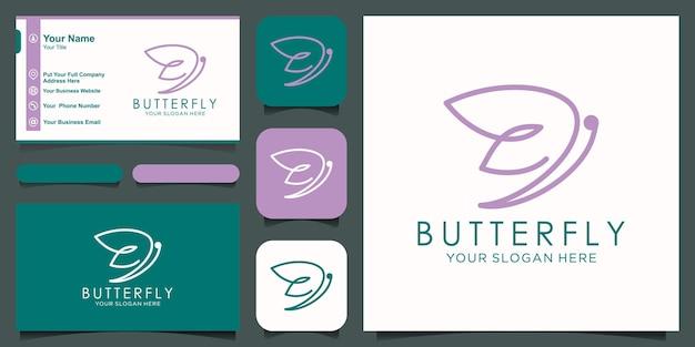 Logo de ligne mono papillon abstrait et vecteur de conception de carte de visite.