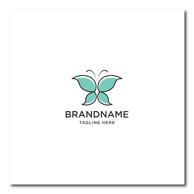 Logo de ligne papillon. logo papillon plat