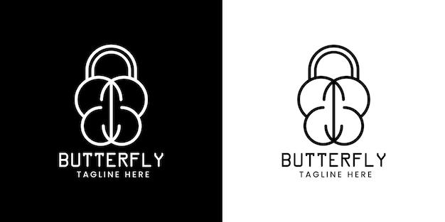 Logo de ligne papillon moderne