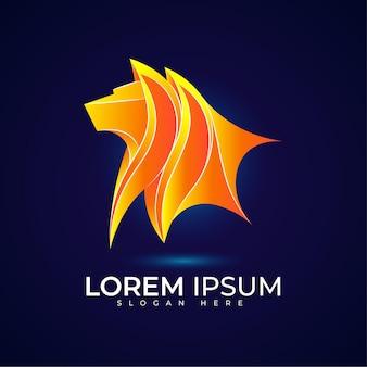 Logo lion avec une belle couleur dégradée